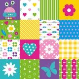 Lycklig patchworkmodellsamling Arkivfoto