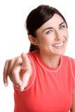 lycklig pekande kvinna Royaltyfria Bilder