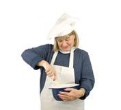 lycklig pensionär för kock Arkivfoton