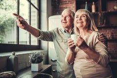 lycklig pensionär för par royaltyfria foton