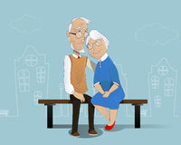 lycklig pensionär för par cartoon Fotografering för Bildbyråer