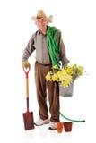 lycklig pensionär för trädgårdsmästare Arkivfoton
