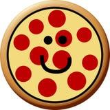 lycklig peperonipizza Arkivbild