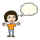 lycklig person för tecknad film med tankebubblan vektor illustrationer