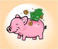 Lycklig Piggy sparbank Fotografering för Bildbyråer