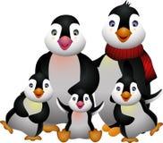 Lycklig pinguinfamilj Vektor Illustrationer