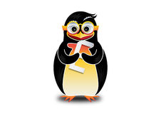 Lycklig pingvin som äter logo Royaltyfria Foton