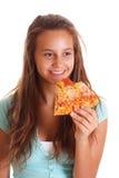 lycklig pizza för flicka Royaltyfri Foto