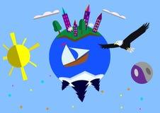 Lycklig planet med en skjuta i höjden örn stock illustrationer