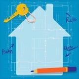 Lycklig planläggning av ett framtida familjhem Arkivfoto