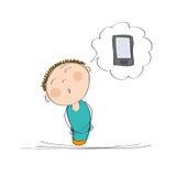 Lycklig pojke eller ung man som drömmer av en ny mobiltelefon royaltyfri illustrationer