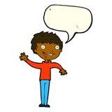 lycklig pojke för tecknad film som vinkar med anförandebubblan Arkivbild