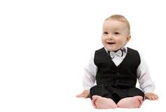 Lycklig pojke i dräkt Fotografering för Bildbyråer