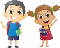 Lycklig pojke och flicka som är klara att gå tillbaka till skolan Arkivbilder