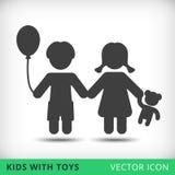 Lycklig pojke- och flickasymbol Arkivfoton