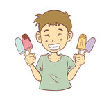 Lycklig pojke och glassar Arkivfoton