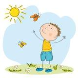 Lycklig pojke som fångar fjärilar royaltyfri illustrationer