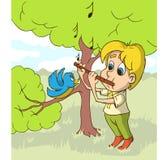 Lycklig pojke som på spelar flöjten en glänta också vektor för coreldrawillustration Arkivfoton