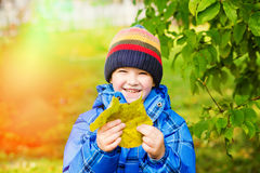 Lycklig pojke som rymmer färgrika sidor i höst Royaltyfri Foto