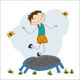 Lycklig pojkebanhoppning på trampolinen royaltyfri illustrationer