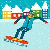 Lycklig pojkesnowboarderbanhoppning på en snowboard Arkivfoto