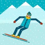 Lycklig pojkesnowboarderbanhoppning på en snowboard Snöberglandskap Extrema vintersportar Royaltyfria Foton