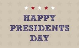 Lycklig presidents ferie för USA för dagmedborgare Hälsningkort med symboler av amerikanska flaggan, med band och stjärnor Inklud royaltyfri illustrationer
