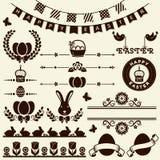 Lycklig påsk! Vektordesignbeståndsdelar Arkivfoto