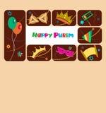 Lycklig purim, judisk ferie vektor illustrationer