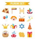 Lycklig Purim karnevaluppsättning av designbeståndsdelar, symboler Judisk ferie på vit bakgrund också vektor för coreldrawillustr Royaltyfri Foto