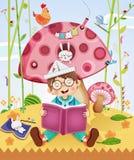 Lycklig pys som läser en bok Arkivbilder