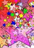 lycklig röd stjärna för grupp stock illustrationer