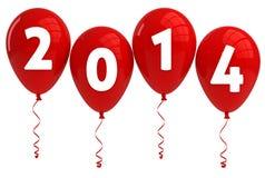 Röda ballonger för år 2014 Fotografering för Bildbyråer