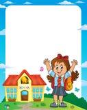 Lycklig ram 1 för elevflickatema royaltyfri illustrationer