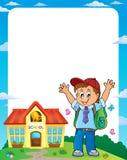 Lycklig ram 1 för elevpojketema royaltyfri illustrationer