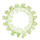 Lycklig by, ram med hus för din design 库存照片