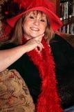 Lycklig Red Hat dam royaltyfria bilder