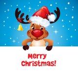Lycklig ren med den Santas hatten Royaltyfria Bilder