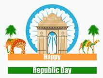 Lycklig republikdag av Indien Illustration av den Indien porten stock illustrationer