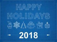 Lycklig ritning för ferier 2018 Arkivfoton