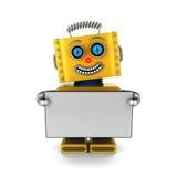 Lycklig robot som rymmer ett tomt tecken Arkivbild