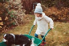 Lycklig rolig barnflicka som rider hennes hund i skottkärra i höstträdgården, frankt utomhus- tillfångatagande royaltyfri foto