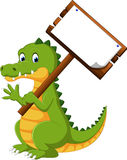 Lycklig rolig krokodiltecknad film stock illustrationer
