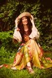 Lycklig romantisk kvinna Arkivbild