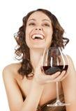 lycklig rött vinkvinna Fotografering för Bildbyråer