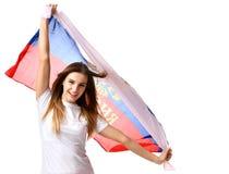 Lycklig ryssfotbollfan med nationsflaggan som ropar att fira eller att skrika Royaltyfria Foton