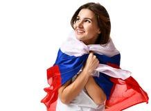 Lycklig ryssfotbollfan med nationsflaggan som ropar att fira eller att skrika Royaltyfri Bild