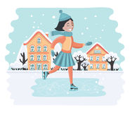 Lycklig söt flickaridning på isskridskor stock illustrationer