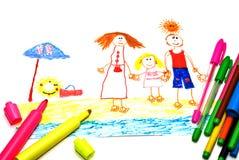 lycklig s semester för barnteckningsfamilj Arkivfoto