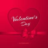 lycklig s valentin för dag Elegant affisch med hjärta, pilbågen och bandet Fotografering för Bildbyråer